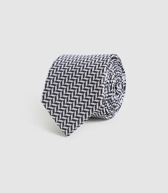 Reiss Ray - Silk Chevron Tie in Black