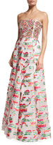 Andrew Gn Beaded Paisley Strapless Gown, White
