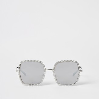 River Island Womens Silver pearl embellished sunglasses