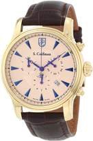 S. Coifman Men's Chronograph Rose Gold Tone Textured Dial Dark Brown Italian Genuine Leather