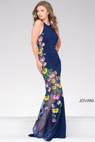 Jovani Jersey Prom Dress with Floral appliques 36455