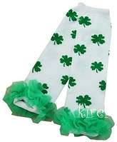 Ameda St Patrick's Day Baby Green Ruffles White Shamrock Leg Warmers