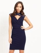 Lipsy Lace Trim Shoulder Detail Bodycon Dress