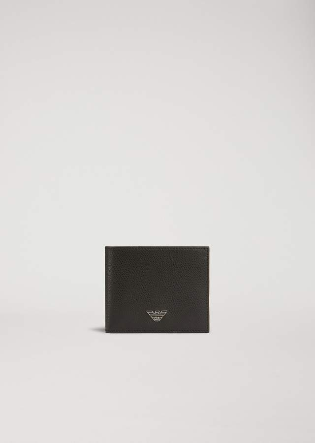 Emporio Armani Bi-Fold Wallet In Boarded Print Leather