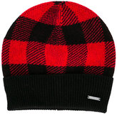 Woolrich Kids checked beanie hat