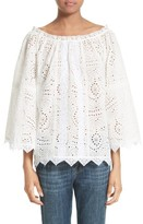 Burberry Women's Thistle Eyelet Lace Off The Shoulder Blouse