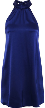 Alice + Olivia Crystal Satin Halterneck Mini Dress