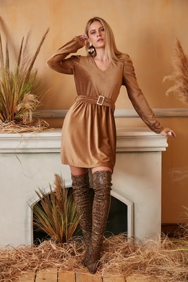 Jenerique Wrap Mini Dress in Camel colour with Balloon Shoulders