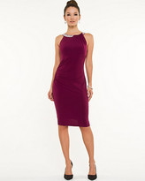 Le Château Knit Beaded Trim Halter Dress
