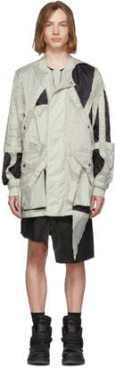 Rick Owens Off-White and Black Cut-Out Bomber Jacket