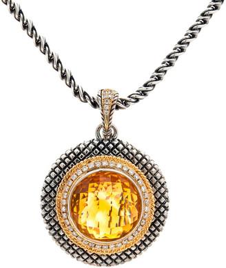 Candela Andrea Rodeo 18K & Silver 0.42 Ct. Tw. Diamond & Citrine Necklace