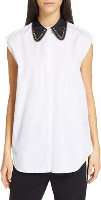N°21 N21 N?21 Jeweled Contrast Collar Poplin Top