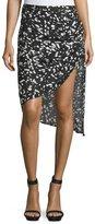Haute Hippie Mid-Rise Asymmetric Skirt, Black/Swan
