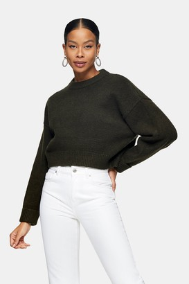 Topshop Khaki Super Cropped Knitted Sweatshirt