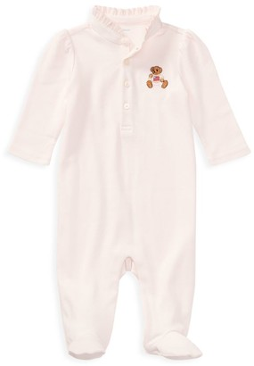 Ralph Lauren Baby Girl's Polo Bear Embroidered Footie