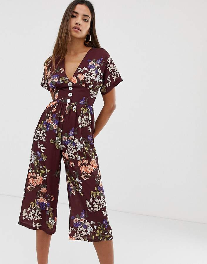 Love capped sleeve floral jumpsuit with button front detail