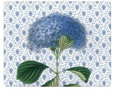 The Well Appointed House Blue Hydrangea on Provencial Print Glass Cutting Board-Available in Two Different Sizes