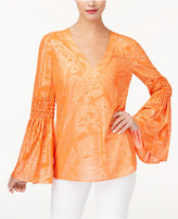 MICHAEL Michael Kors Printed Bell-Sleeve Top, A Macy's Exclusive