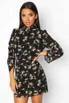 boohoo Woven Floral High Neck Mini Dress