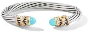 David Yurman Helena Sterling Silver, 18K Yellow Gold, Diamond& Turquoise Bracelet