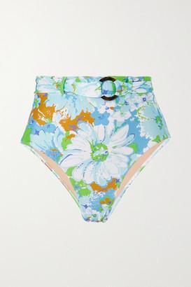 Faithfull The Brand Net Sustain Lavande Belted Floral-print Bikini Briefs - Blue
