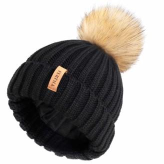 FURTALK Winter Hats for Women Double Layer Fleece Line Beanie Hat with Faux Fur Bobble Pom Pom Hats Black