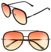 Quay Women's 'Needing Fame' 65Mm Aviator Sunglasses - Black/ Red/ Yellow