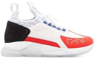 Versace Cross Chainer Mesh And Suede Trainers - Mens - White