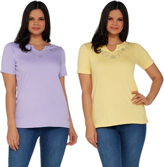 Factory Quacker Set of 2 Floral Rhinestone Split V-Neck Knit T-shirts
