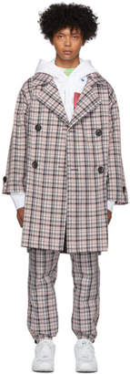Opening Ceremony Pink Plaid Oversized Trench Coat