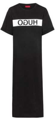 HUGO Relaxed-fit jersey T-shirt dress with reversed logo
