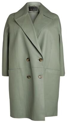 Marina Rinaldi Double-Breasted Leather Coat