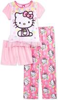 Hello Kitty Girls 3-Piece Cute, Flower Pajama Set, Kids