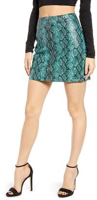 Tiger Mist Tash Snakeskin Print Faux Leather Mini Skirt