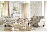 Baxton Studio Bostwick Linen Classic Victorian Sofa Set, Beige