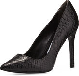 Charles David Caterina Snake-Embossed Leather Pump, Black