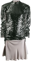 Sequin Gathered Sleeve Top