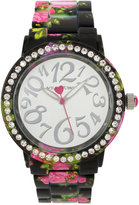 Betsey Johnson Women's Pink Floral Printed Black Bracelet Watch 40mm BJ00482-13