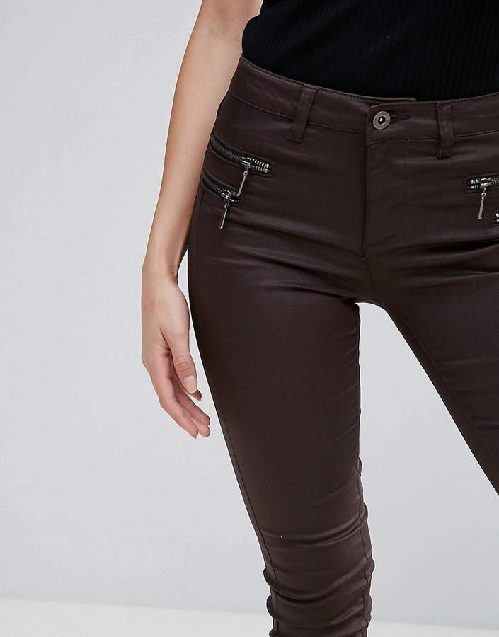 Only Olivia Coated Zip Skinny Pants