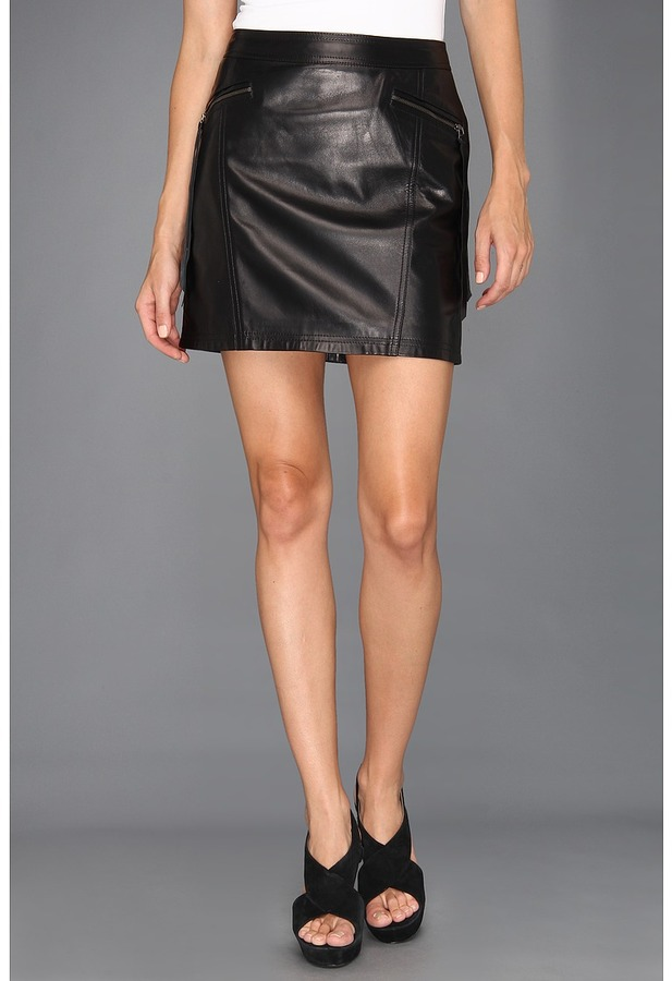 Nicole Miller Non-Stretch Leather Skirt (Black) - Apparel