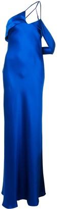 Mason by Michelle Mason Draped-Arm Silk Gown