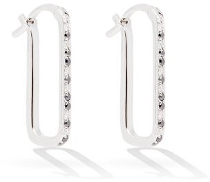Raphaele Canot Animal Print Diamond & White Gold Hoop Earrings - Silver