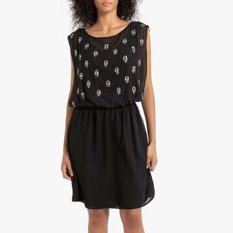 Naf Naf Short Sleeveless Neckline Dress with Beads