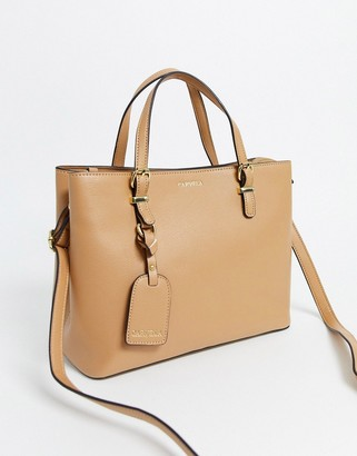 Carvela Mini Hooper slouch structured tote bag in tan