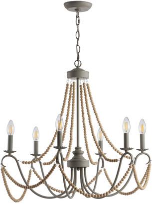 Jonathan Y Designs Rustica 6-Light 27In Adjustable Greige Metal/Wood Bead Led Chandelier