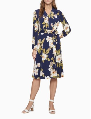 Calvin Klein Floral V-Neck Belted A-Line Dress