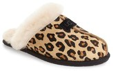 UGG 'Scuffette II' Leopard Spot Calf Hair Genuine Shearling Cuff Slipper