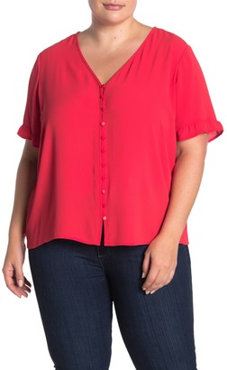 Cece By Cynthia Steffe Ruffle Sleeve Solid Crepe Blouse (Plus Size)