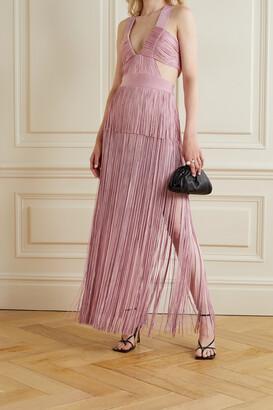 Herve Leger Cutout Fringed Bandage Gown - Pink