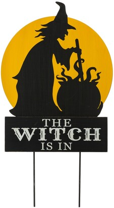 """Glitzhome 30"""" H Halloween Wooden Metal The Witch Is In Stake or Wall Decor"""